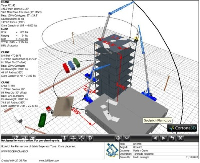 3D Lift Plan drawing submitted to clients for approval