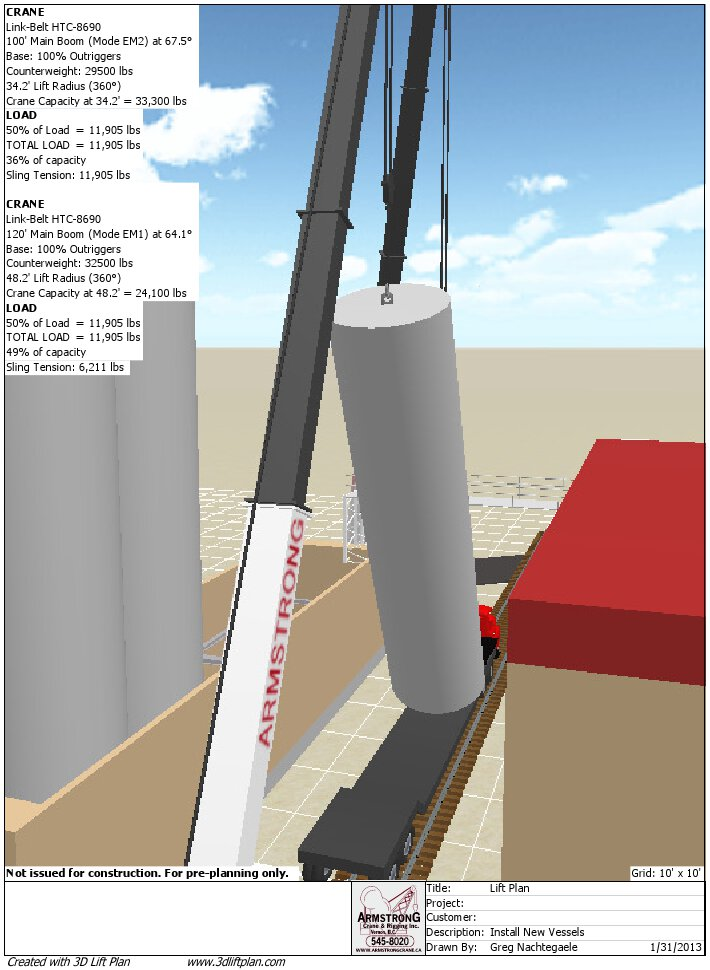 3D Lift Plan View Of Last Vessel Being Lifted Off Trailer
