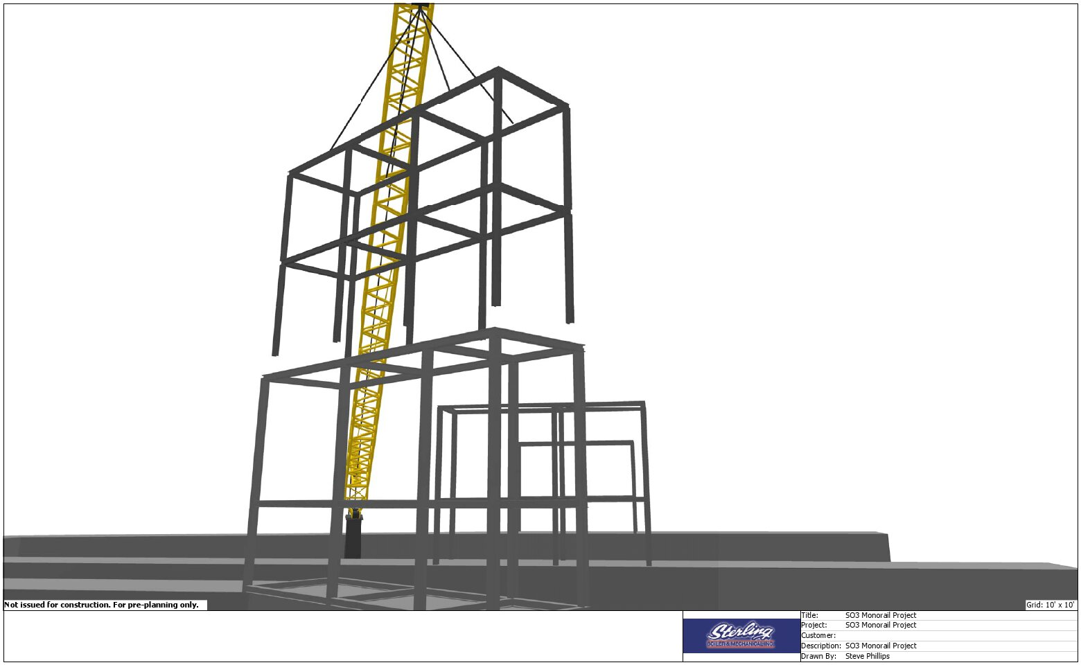 3D Lift Plan Of Supporting Structure Being Placed Crane