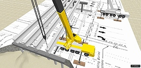 3D Lift Plan view shows the fourth beam should not be hoisted with the GMK5275 at this location