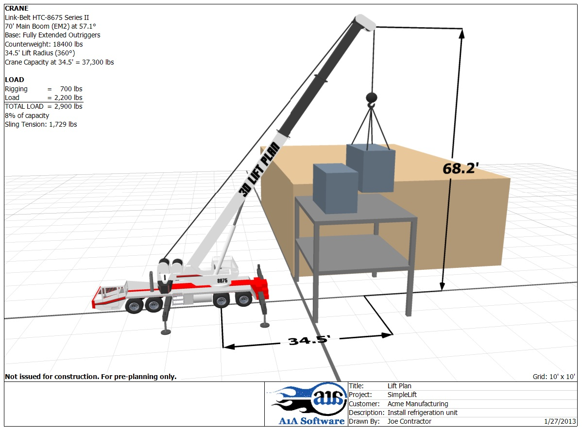 Rough Terrain Crane Refinery Lift Plan Printout