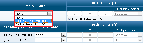 Multi-Crane Lift Settings